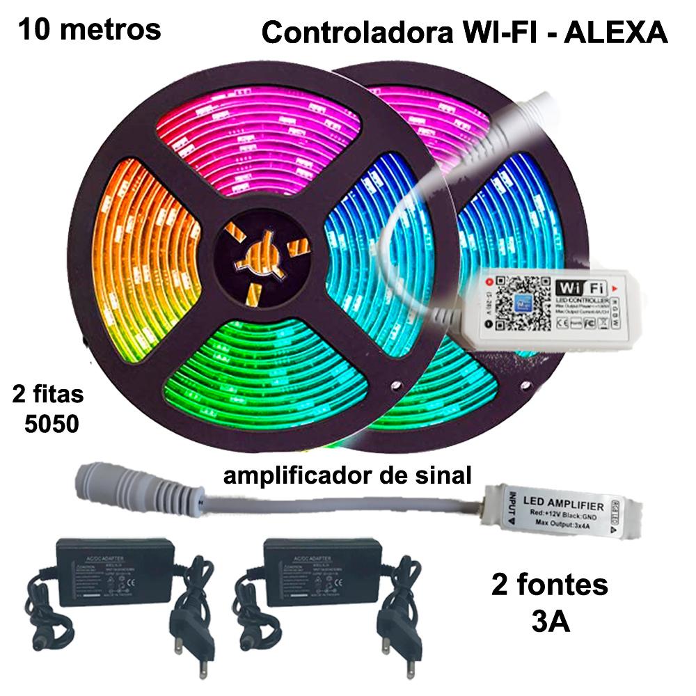 Kit Fita de LED RGB 5050 10 metros (2 rolos de 5m) Wi-fi com amplificador