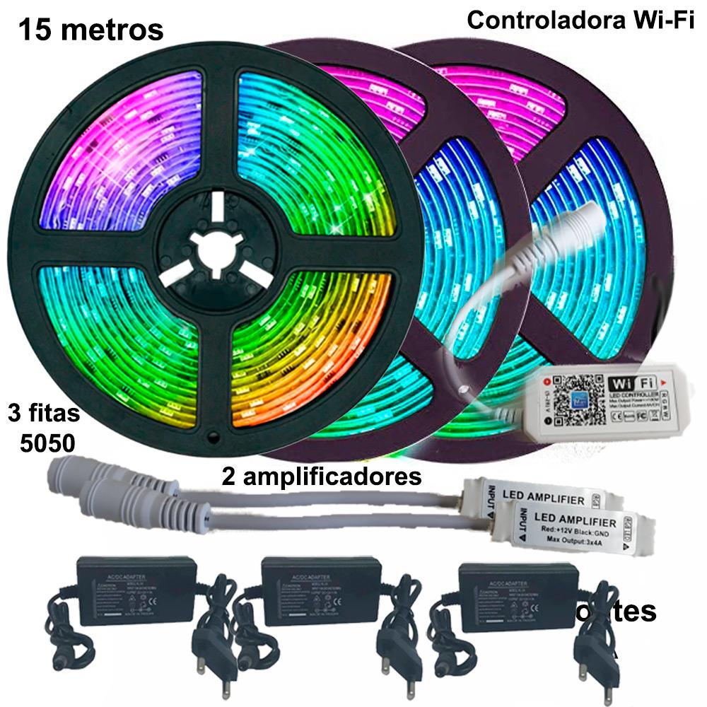 Kit Fita de LED RGB 5050 15 metros (3 rolos de 5m) Wi-fi com amplificador