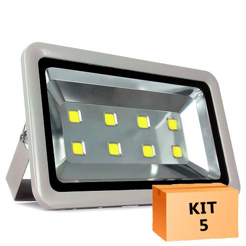Kit Refletor para Quadra com 5 Refletor Led 400W Branco Frio Uso Externo