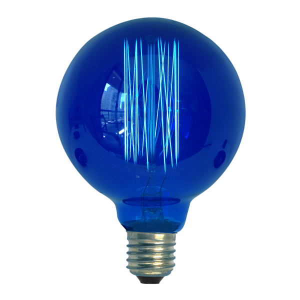 Lâmpada de Filamento de Carbono G95 Squirrel Cage 40W 110V Azul