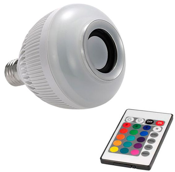 Lâmpada Led Musical Bluetooth RGB c/ controle remoto