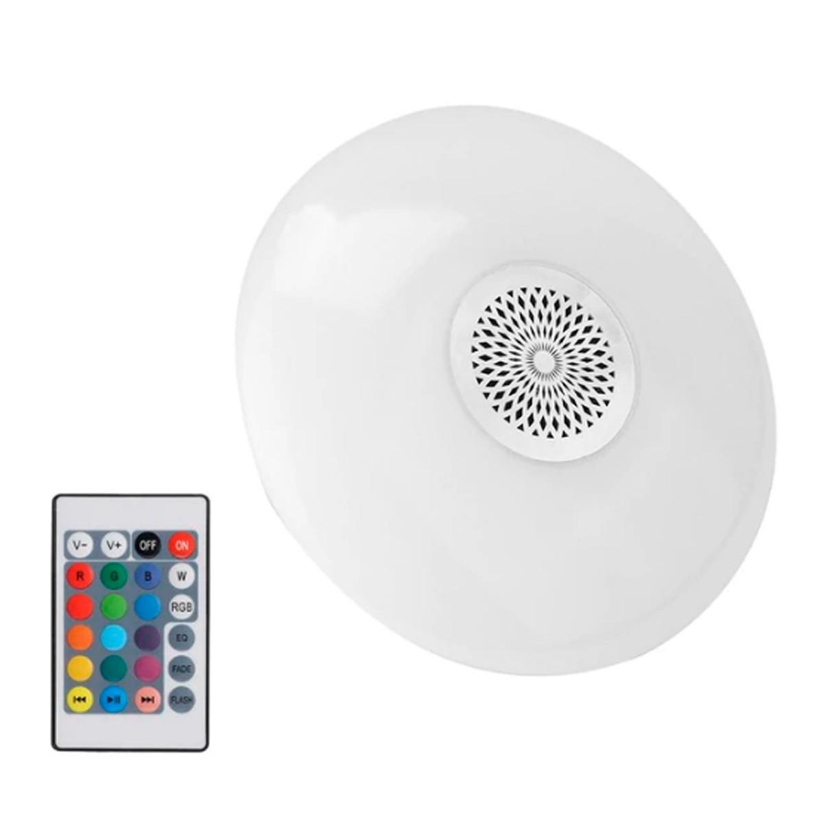 Lâmpada UFO Colorida Musical via Bluetooth Potente 24W com Controle Remoto