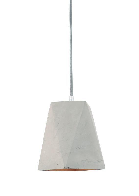 Lustre Pendente Adely 13,5 x 13,5 x 21 cm Concreto Cinza