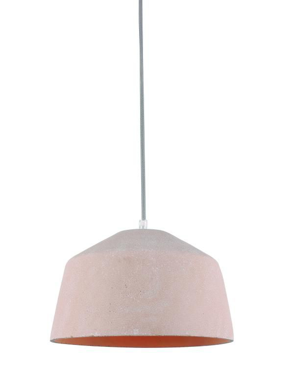 Lustre Pendente Adely 28,5 cm Concreto Rosa Claro