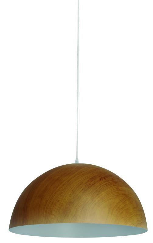Lustre Pendente Adely Alumínio Decoração Madeira 32 cm