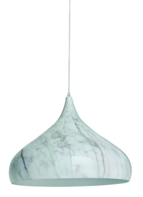 Lustre Pendente Adely Alumínio Decoração Mármore 42 cm