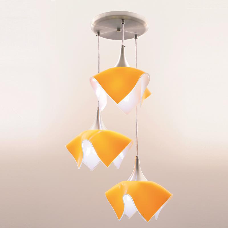 Lustre Pendente Triplo Color - Amarelo Auremar