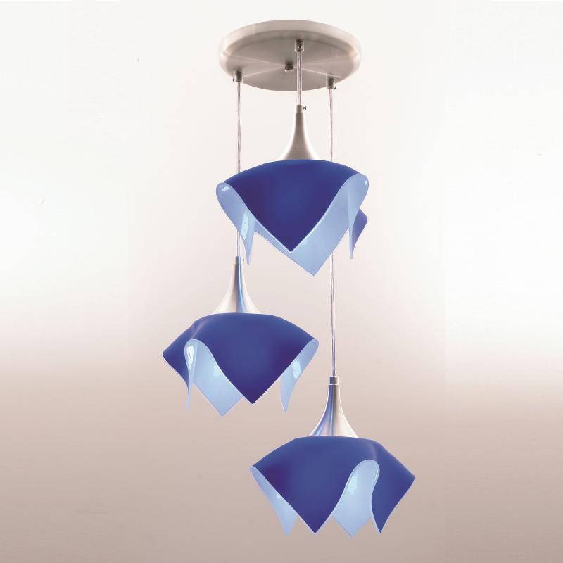 Lustre Pendente Triplo Color - Azul Auremar