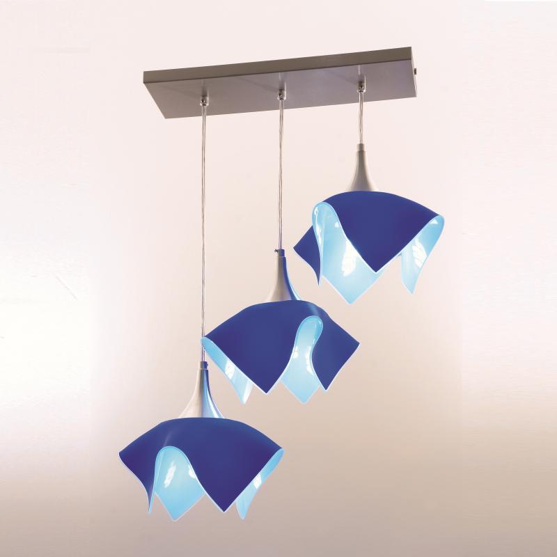 Lustre Pendente  Triplo Color Trilho - Azul Auremar