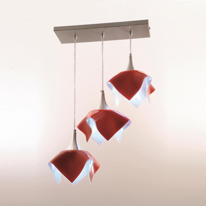 Lustre Pendente  Triplo Color Trilho - Vermelho Auremar