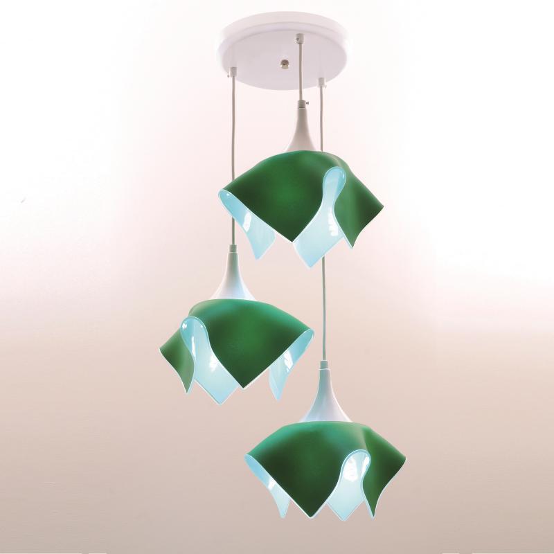 Lustre Pendente Triplo Color - Verde Auremar
