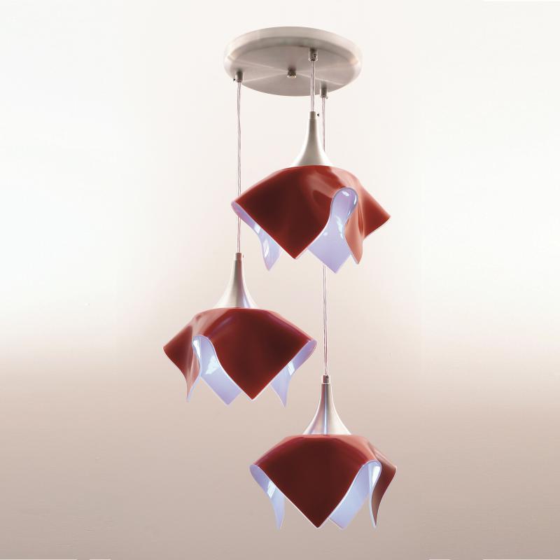 Lustre Pendente Triplo Color - Vermelho Auremar