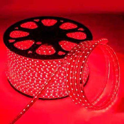Mangueira 220V LED Vermelho Rolo 100m com 5 tomadas