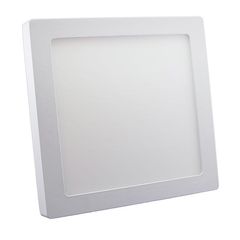 Plafon Led de Sobrepor Quadrado <br/>18W - 22 x 22 cm Branco Frio 6000K
