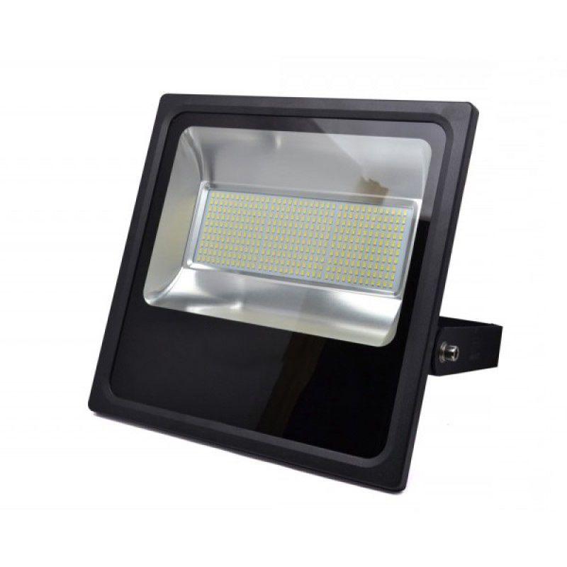 Refletor Holofote Led Slim SMD 150W Branco Frio Preto