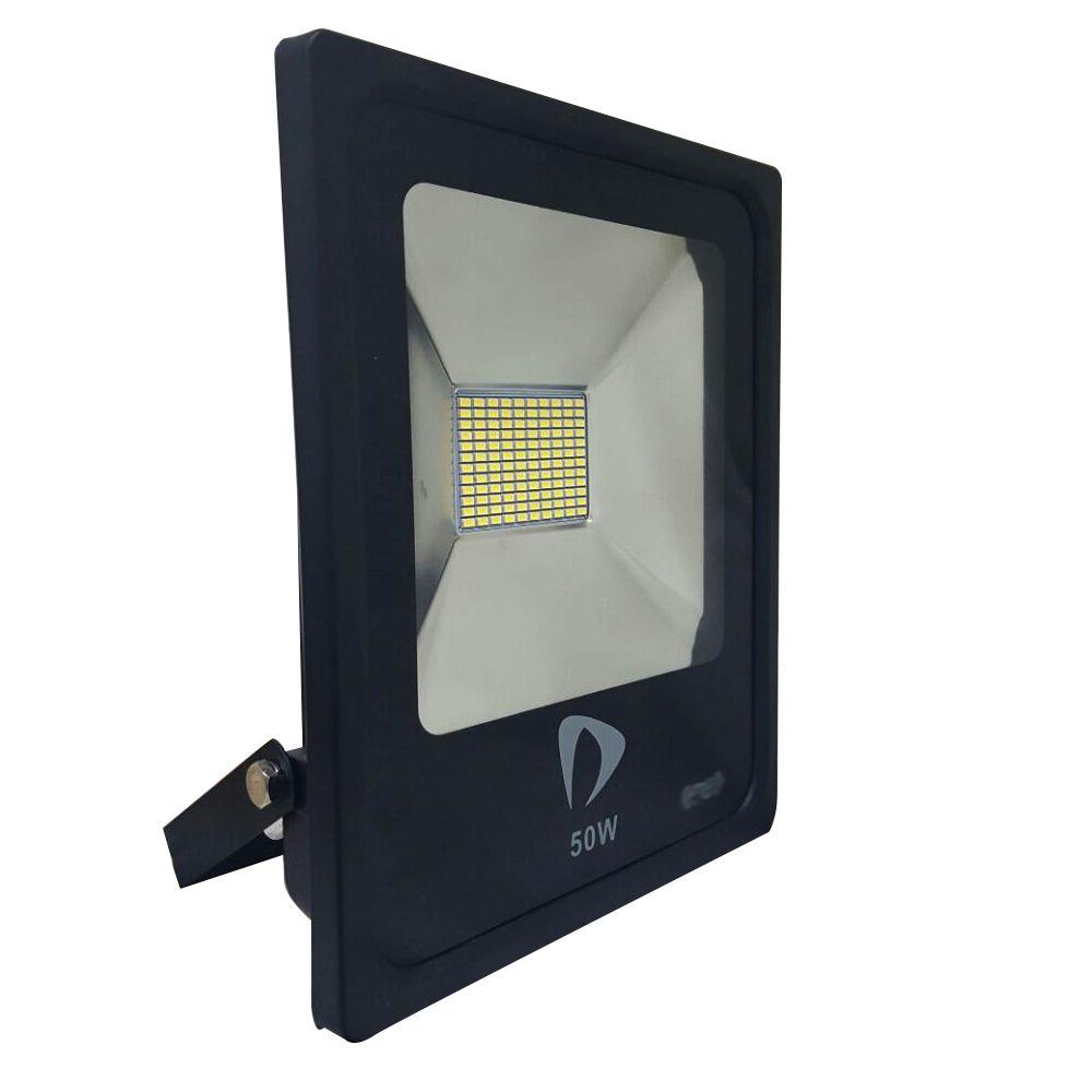 Refletor Led Slim SMD 50W Branco Quente Uso Externo