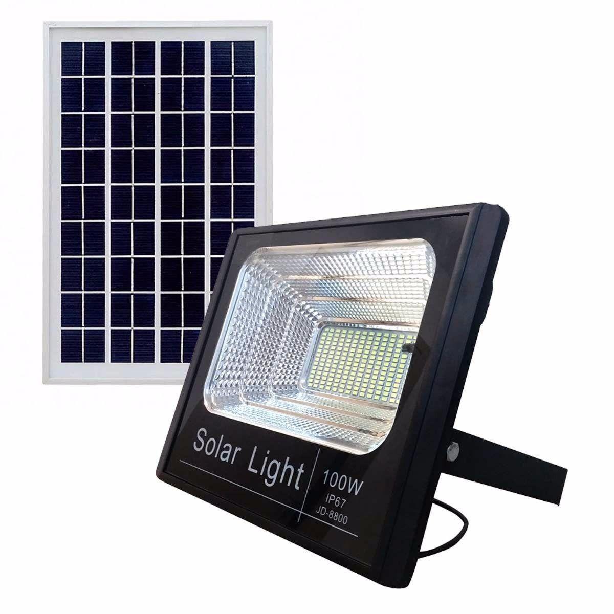 Refletor LED Solar 100W Branco Frio
