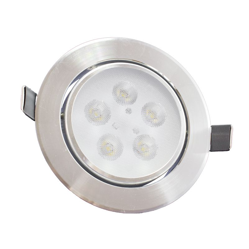 Spot Led Prata Direcionável Redondo 5W Branco Frio 6000K