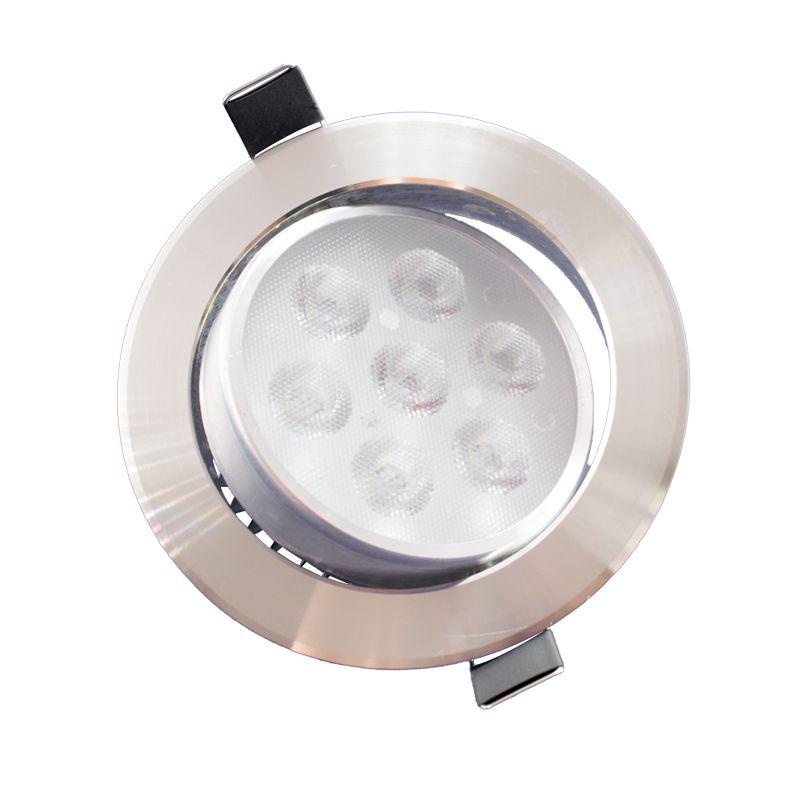 Spot Led Prata Direcionável Redondo 7W Branco Frio 6000K