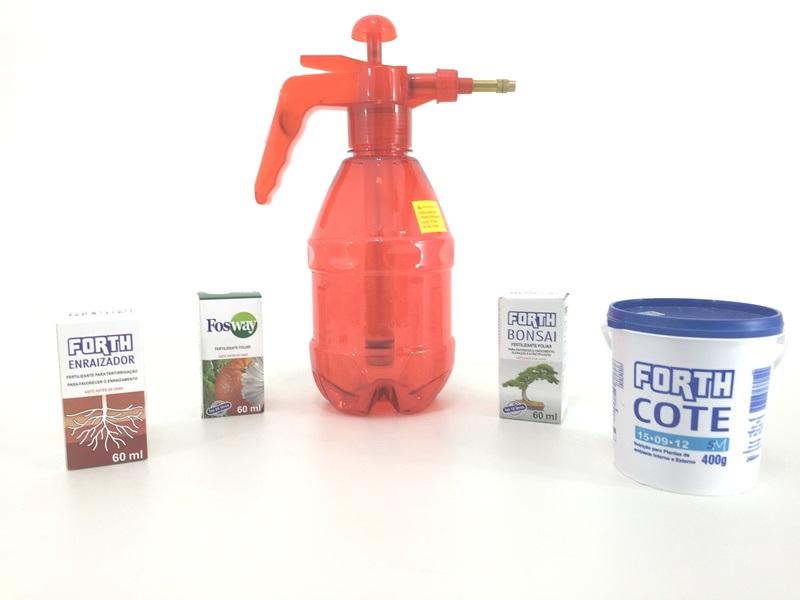 Kit Fertilizante concentrado (Fosway, enraizador, Bonsai, Forth cote 15.09.12 e Pulverizador)