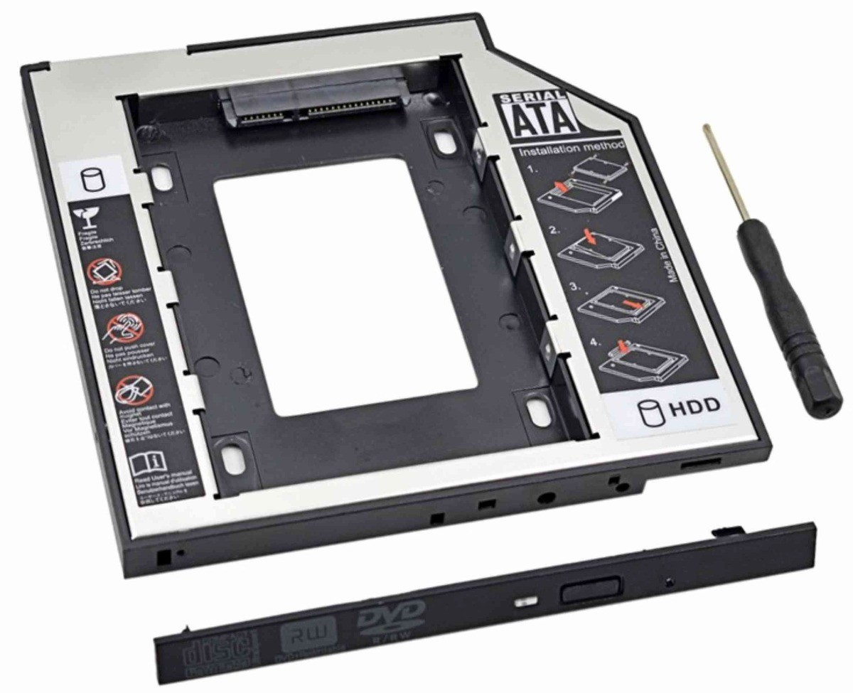 "Adaptador Caddy CdROM Para HD/SSD 2.5"" Sata 12,7mm Exbom HDCA-S127  - Mega Computadores"