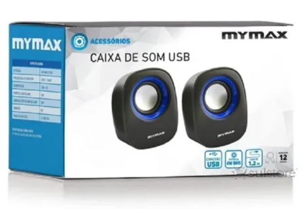 Caixa de Som 2.0 USB 6W RMS - Preto e Azul, Mymax, MODELO:SPK-SP205/BL  - Mega Computadores