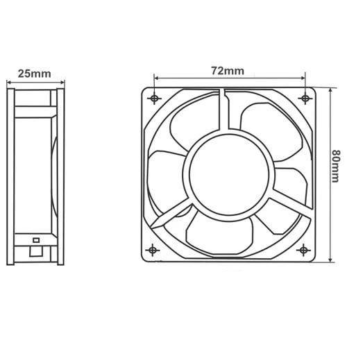 Cooler Fan Para Gabinete 80x80x25mm 12V Dex DX-8C Preto Sem Led  - Mega Computadores