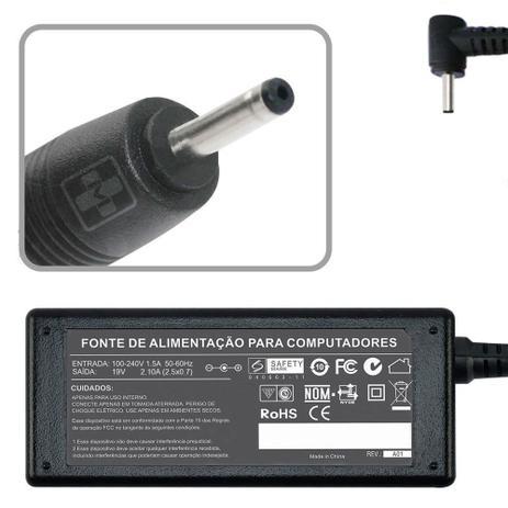 Fonte Para Notebook Asus 19V/2,1A (40W) Modelo 608 - Plug Fino 2,5x0,7mm Bivolt  - Mega Computadores