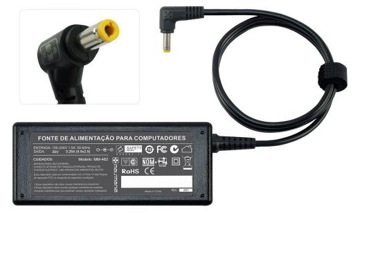 Fonte para Notebook Toshiba  20V 3.25A 65W -MM482    Plug :(5.5mm/ 2.5mm)  - Mega Computadores