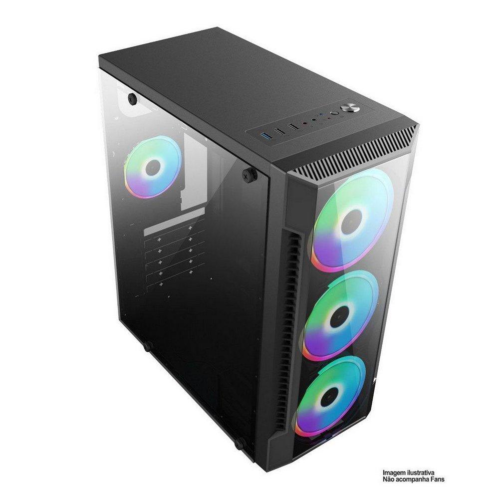 Gabinete Gamer BPC-C3147 Black Com Lateral Vidro  - Mega Computadores