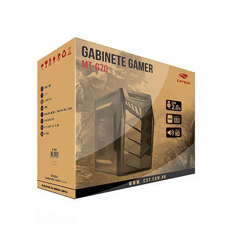 Gabinete Gamer  MT-G70 BK S/Fonte C3T  - Mega Computadores