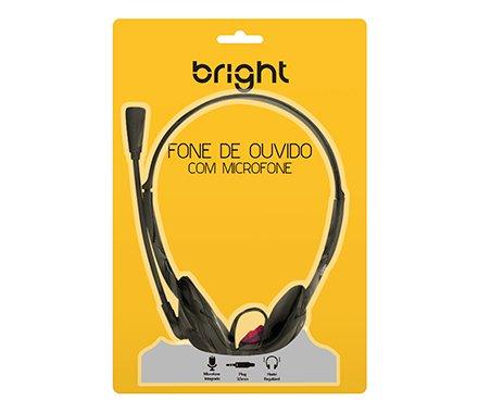 Headset P2 Office 10 preto 0010 Bright BT 1 UN  - Mega Computadores