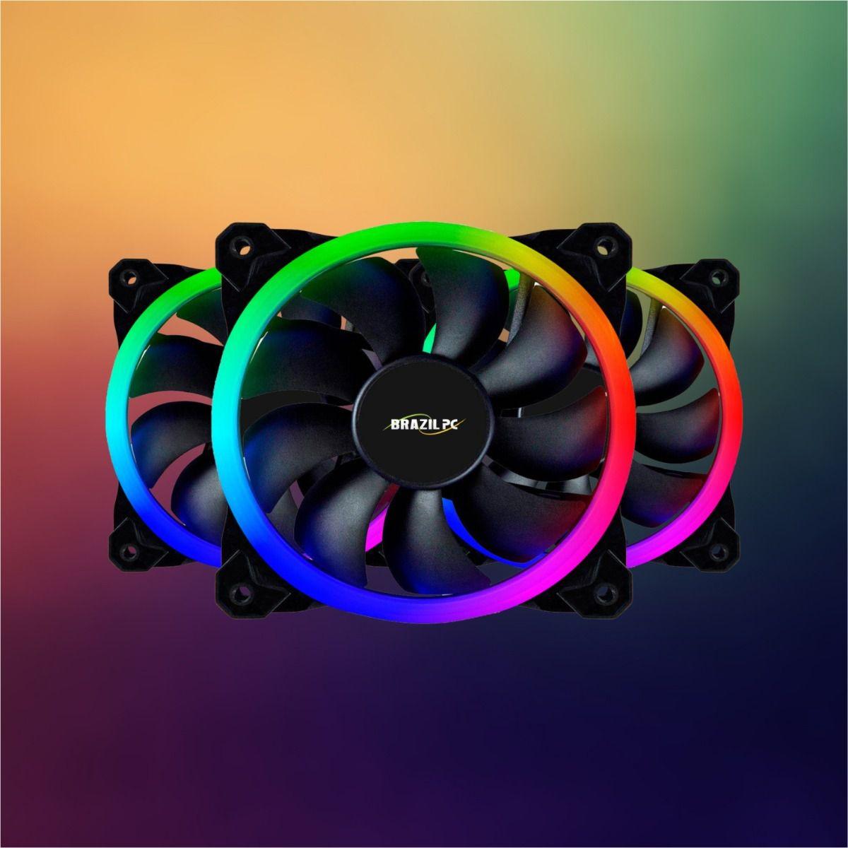 Kit Cooler Fan 12X12 LED RGB Slim Para Gabinete Com Hub e Controle Remoto  - Mega Computadores