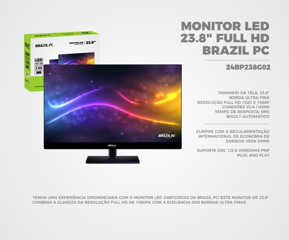 Monitor  Led  23.8 Brazil  PC 24BP238G02 FHD Preto Widescreen Box I  - Mega Computadores