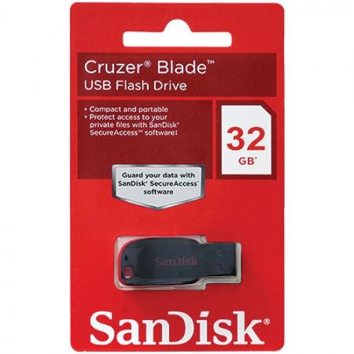 Pen Drive 32GB Sandisk Cruzer Blade SDCZ50-032G Preto  - Mega Computadores