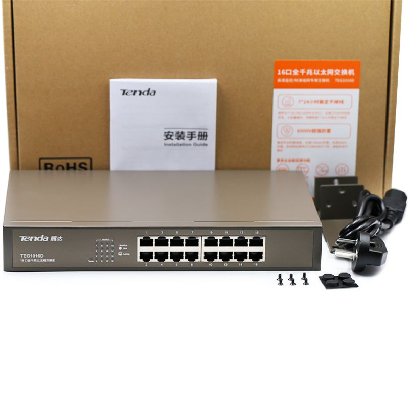 Switch Tenda TEG1016D Gigabit 16 Portas 10/100/1000   - Mega Computadores
