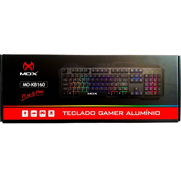 TECLADO GAMER MOX MO-KB160 USB RGB ALUMINIO  - Mega Computadores