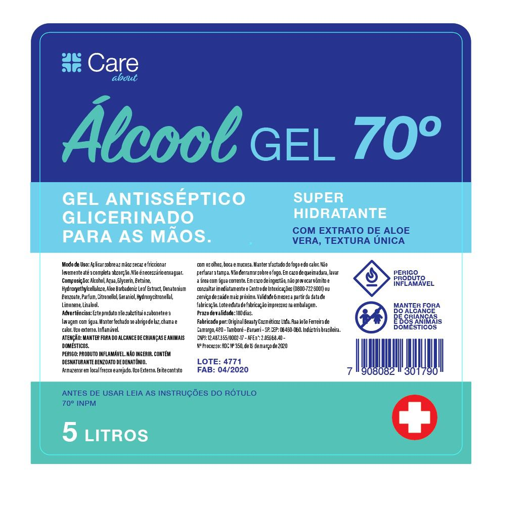 Álcool GEL 70° 533ml CARE ABOUT