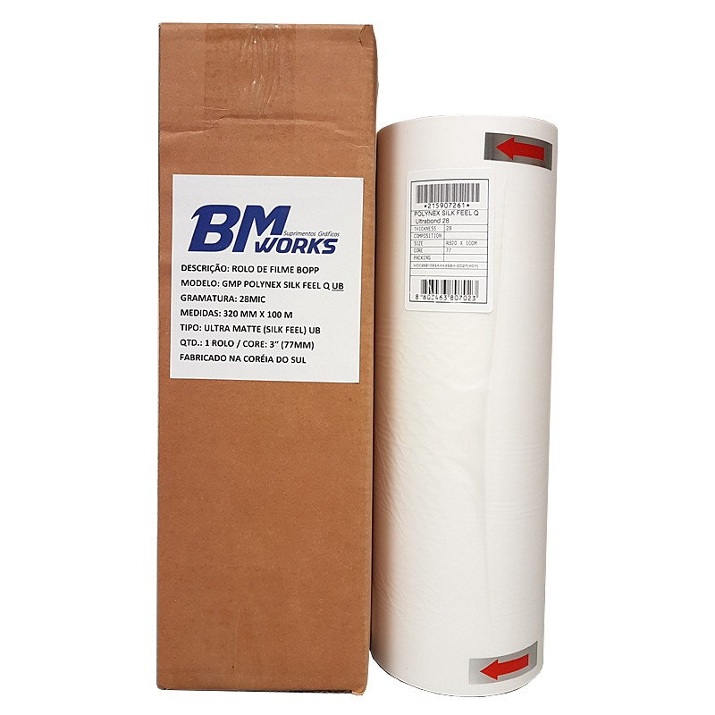 Filme BOPP 28mic Silk Feel Q UB (1RL) 320mm x 100m