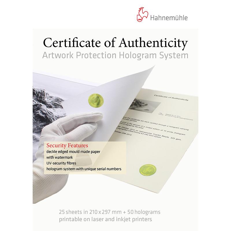 Hahnemühle Certificado de Autenticidade com Sistema de Hologramas