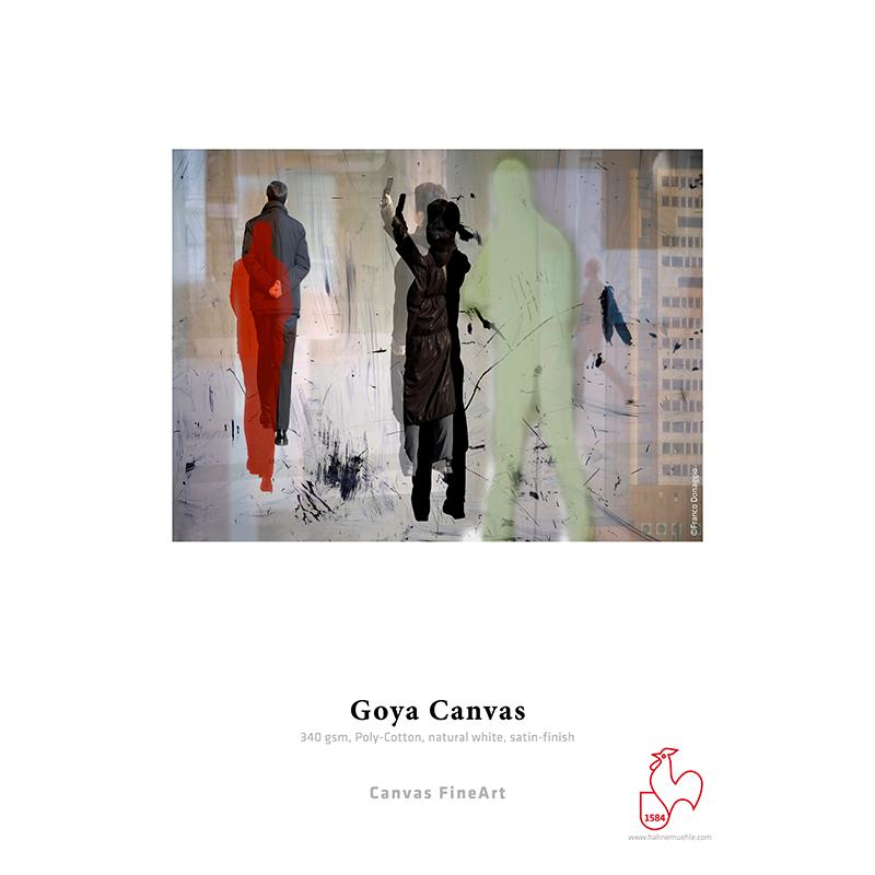 Hahnemühle Goya Canvas 340g/m2 · polialgodão · branco natural · brilho acetinado