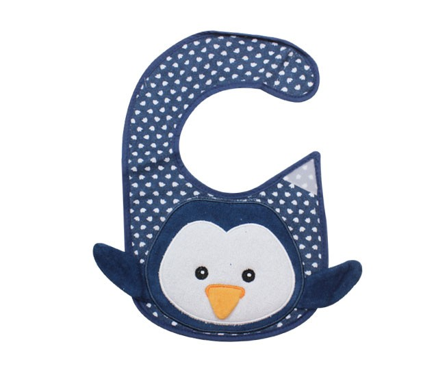 Babador Bordado Pinguim Azul Colibri