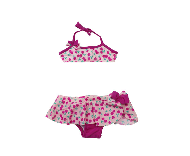 Biquini Infantil Everly Cereja Rosa Estampado