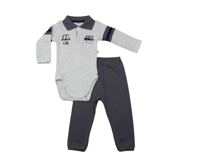 Conjunto Body Branco , Cinza e Azul Car Truck Best Club