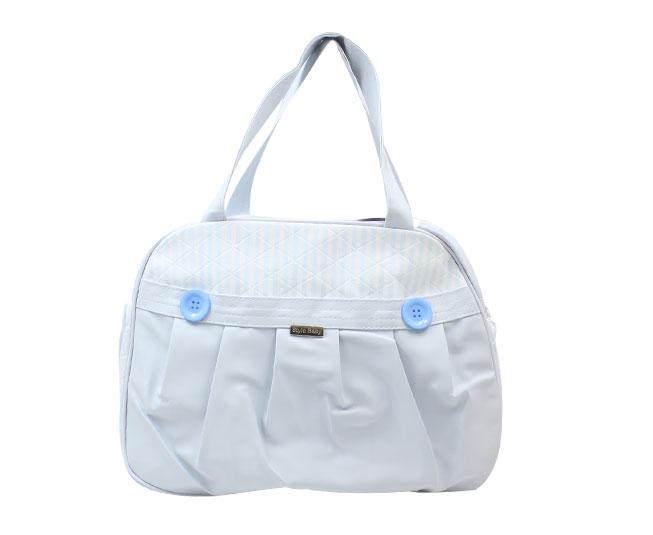 Bolsa Maternidade Azul Bebê Botões Grande com Alça Ajustável Style Baby
