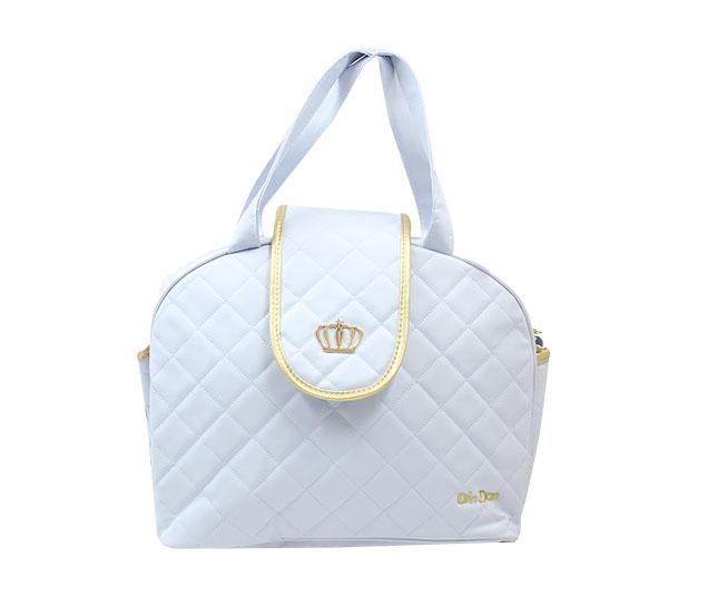 Bolsa Maternidade Coroa Azul Claro e Dourado com Alça Ajustável Din Don
