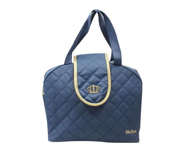 Bolsa Maternidade Coroa Azul Marinho Grande com Alça Ajustável Din Don