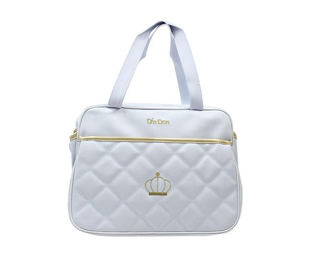 Bolsa Maternidade Coroa Branca Pequena com Alça Ajustável Din Don