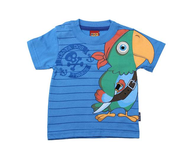 Camiseta Azul Papagaio Verde Kyly