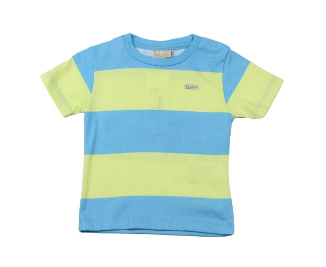 Camiseta Listrada Azul / Verde Limão Milon